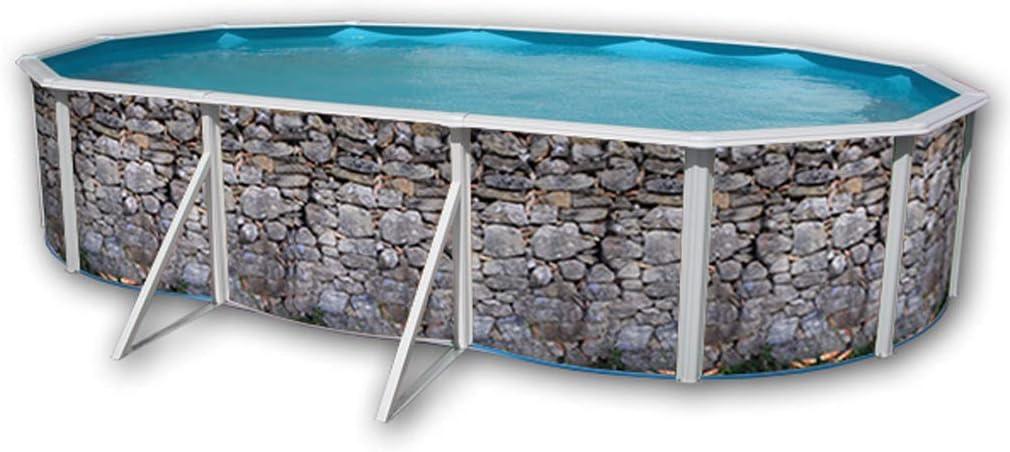 TOI - Piscina PIEDRA GRIS OVALADA 640x366x120 cm Filtro 3,6 m³/h ...