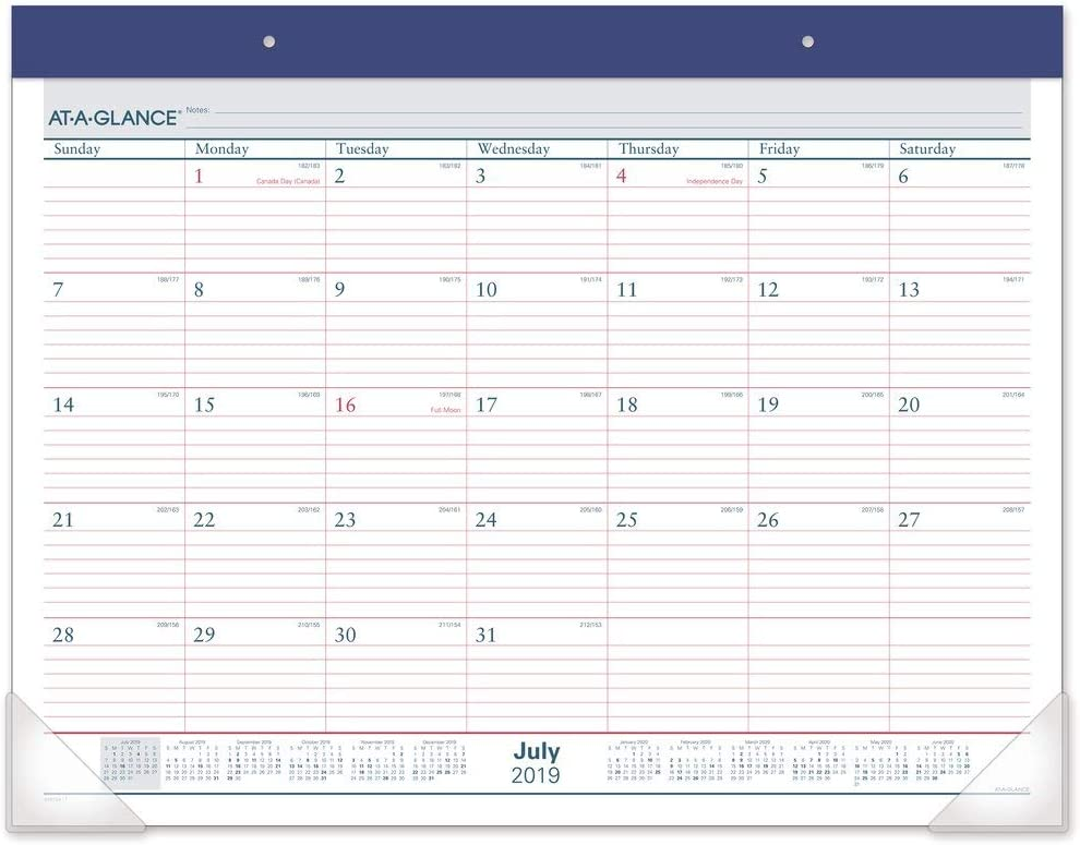 """AT-A-GLANCE 2019-2020 Academic Year Desk Pad Calendar, Standard, 21-3/4"""" x 17"""", Two Color (AYST2417)"""