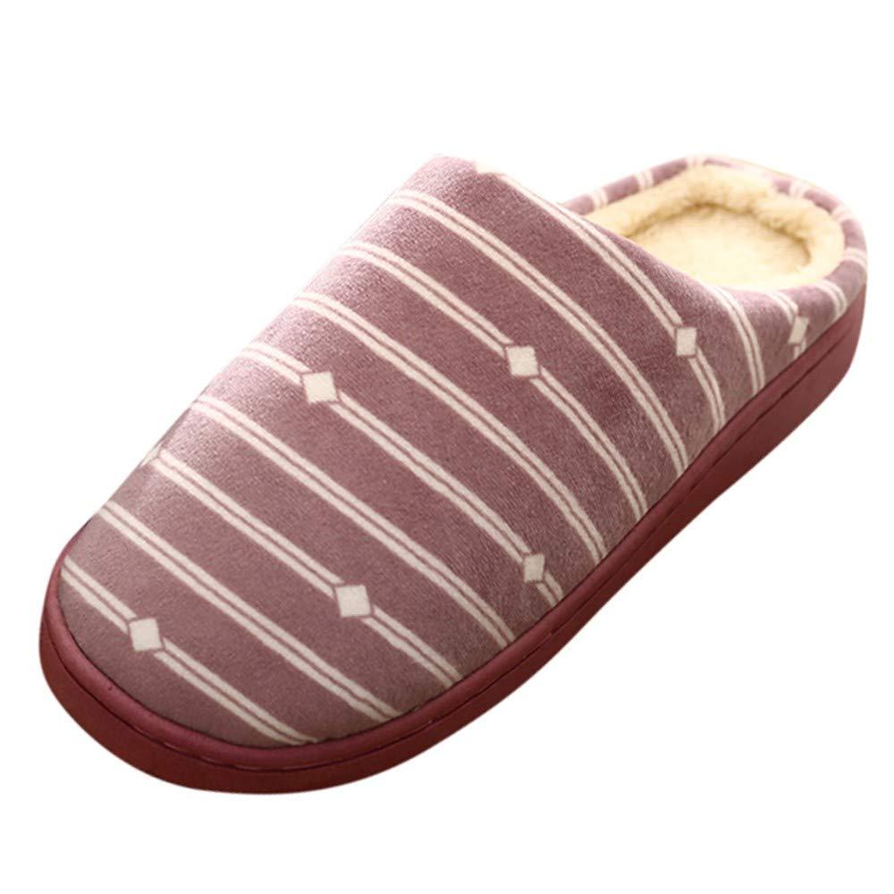NUWFOR Women Warm Gingham Plush Soft Slippers IndoorsAnti-slip Floor Bedroom Shoes(Purple,8.5-9.5 M US)