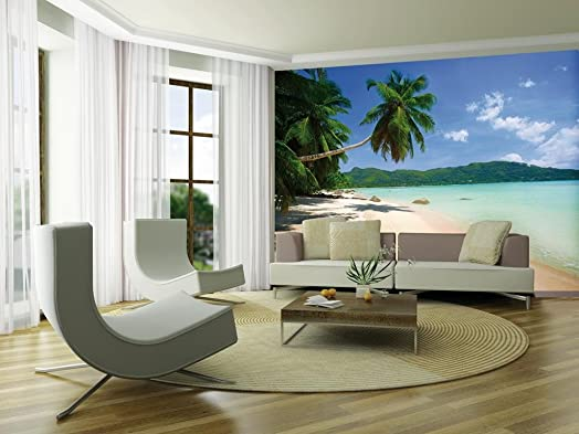 1Wall Tropical Palm Beach Wall Mural, Wood, Blue, 3.15 X 2.32 M Part 33