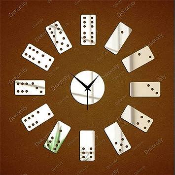 zhenfa Dominó Reloj Papel Tapiz Paredes Pegatinas Mahjong Espejo Digital Etiqueta de la Pared de la Pared: Amazon.es: Hogar