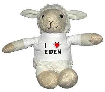 Oveja blanco de peluche con Amo Eden en la camiseta
