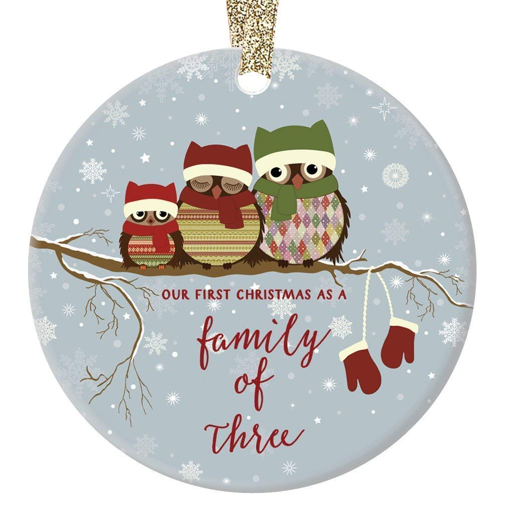 Our First Christmas as a Family of Three Personalized Family Name Ornament Family Name /& Year Red Flower