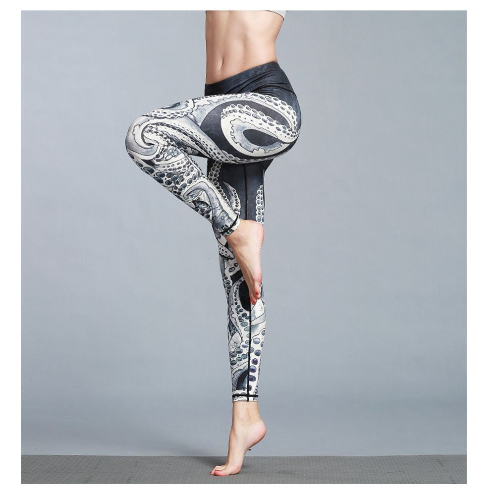 adf1c1abbcf96 Amazon.com: Befullo Women's Yoga Pants Capri Legging Workout Gym Tights (M,  Octopus): Clothing