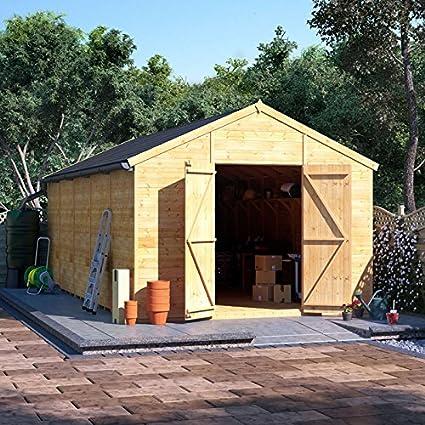 Lengua y Groove de madera taller cobertizo de jardín (doble puerta sin ventanas Apex Premium