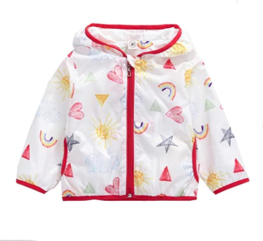 Girls Outerwear Sunscree Hooded Windbreaker Baby Kids Cartoon Printing Clothing