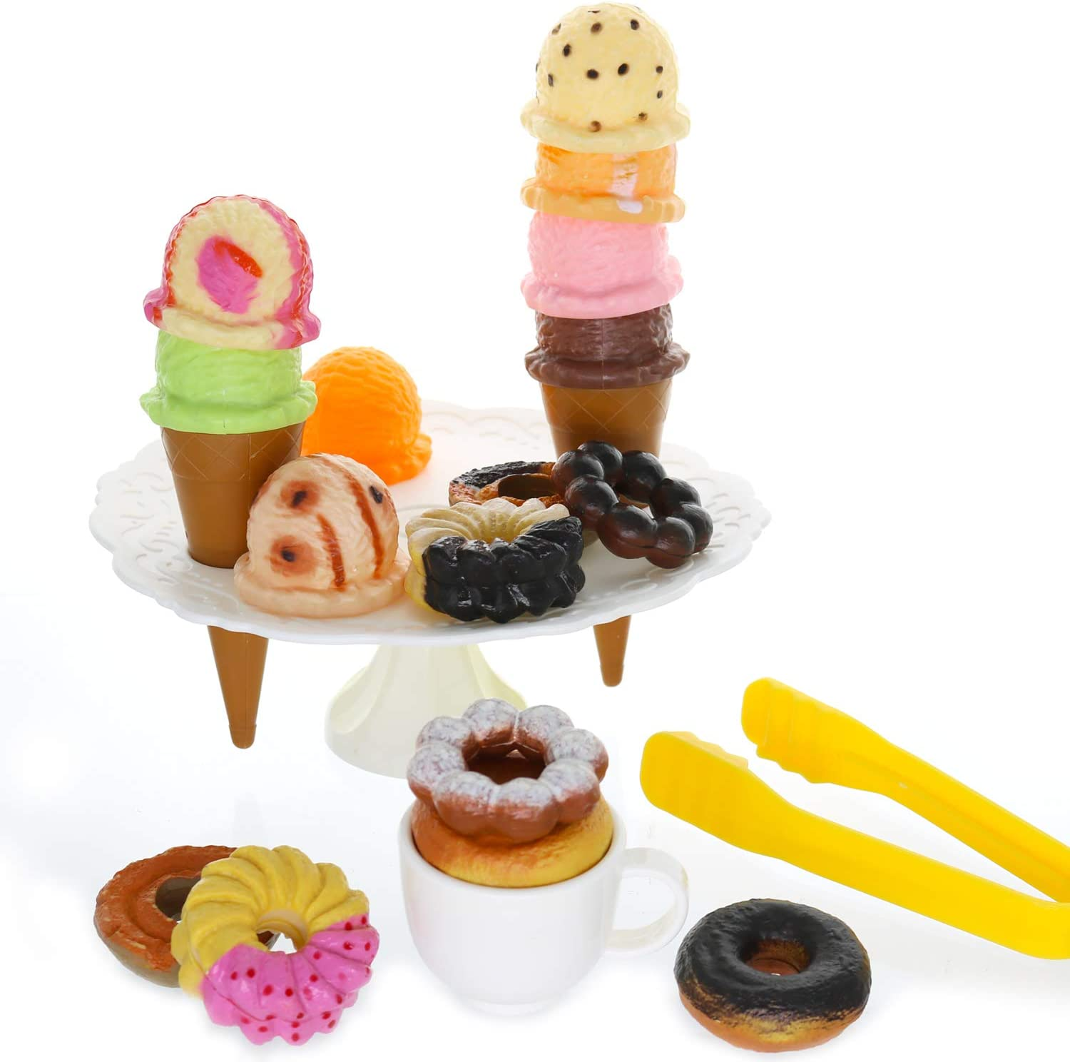 GiftExpress 21 PCS Ice Cream Donuts Pretend Play Toy, Play Food Toy Set for Kids