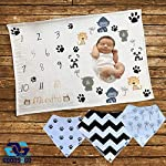 Baby-Monthly-Milestone-or-Swaddle-Blanket-for-BoyGirl-with-3-Unisex-Bandana-Bibs-Infant-Photography-Backdrop-Props-Great-for-Newborns-Keepsake-Baby-Shower-Gift-Set-to-Capture-Memories