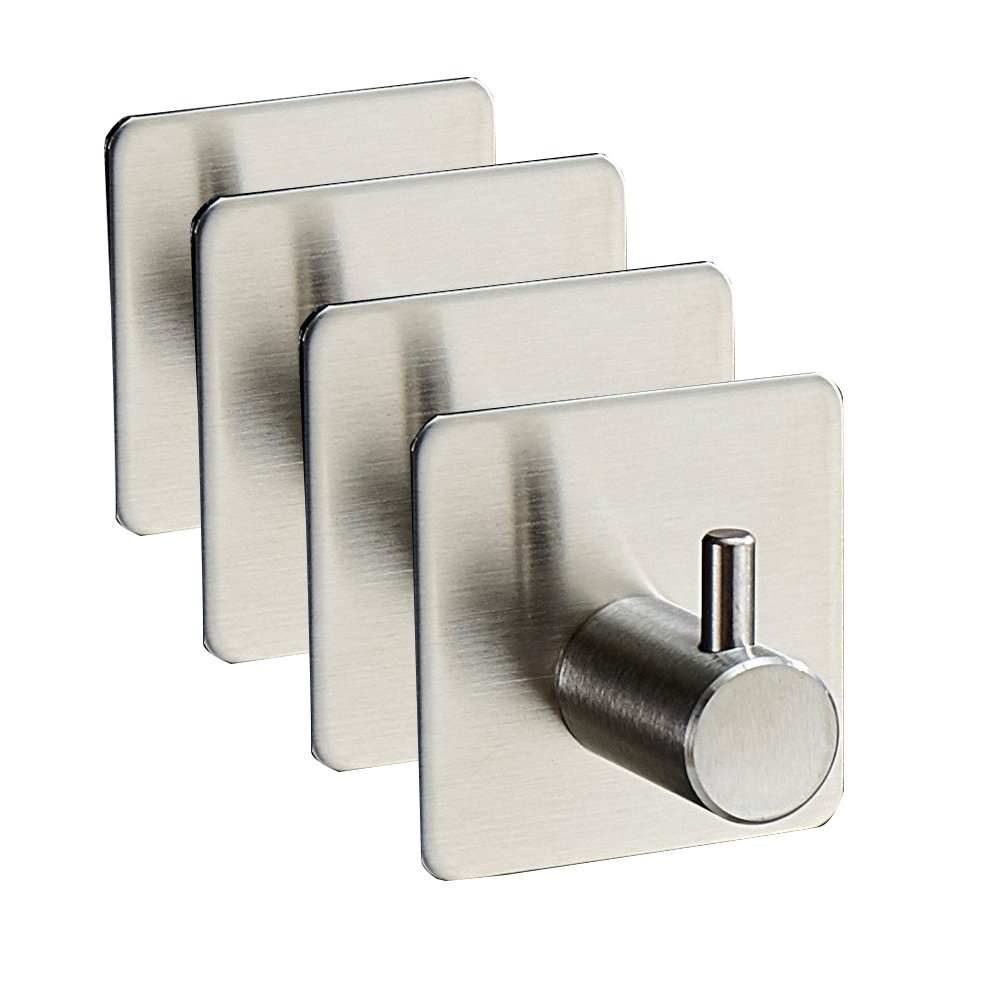 Peicees Stainless Steel Towel Wall Hook 3M Self Adhesive Bathroom Coat Hanger 4 Pcs Savanaha 72700