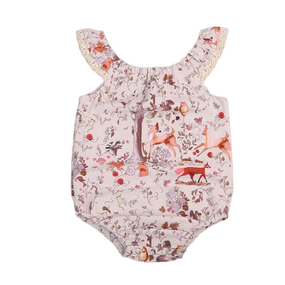Wang-RX Baby Girl Romper Cute Newborn Lace Floral Deer ...