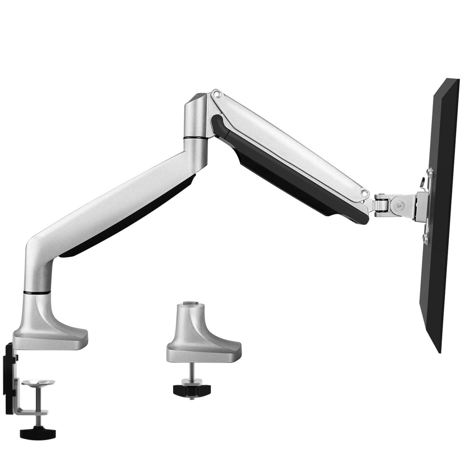 Single Arm Monitor Stand - Premium Aluminum Gas Spring Monitor Desk Mount, Adjustable Computer Riser with Clamp & Grommet Mounting Base for 13'' to 32''Screens - Hold up to 19.8 lbs, VESA 75X75 100X100