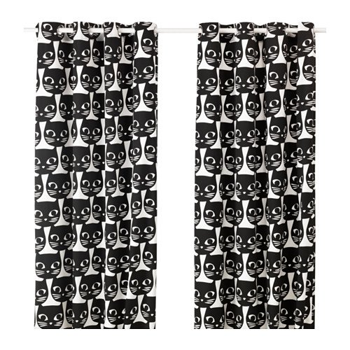 Ikea Pair of Window Curtains Set of 2 Black Cats Faces on White 57 Inches by 98 Inches -- Mattram (Curtain Ikea)