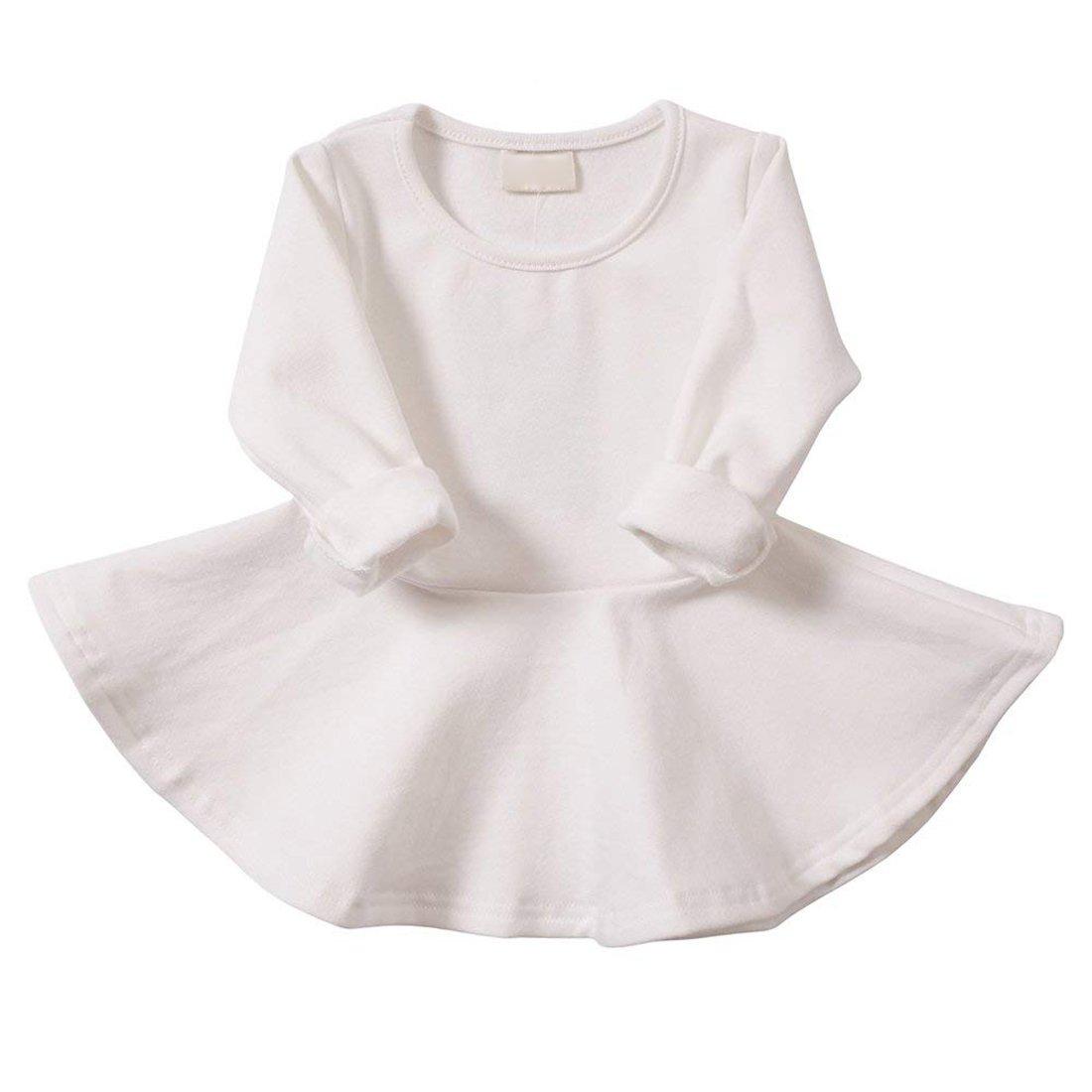 lymanchi Baby Girl Dresses Short Sleeve Toddler Girl Ruffle Infant Cotton Cute Dress White 2T/3T