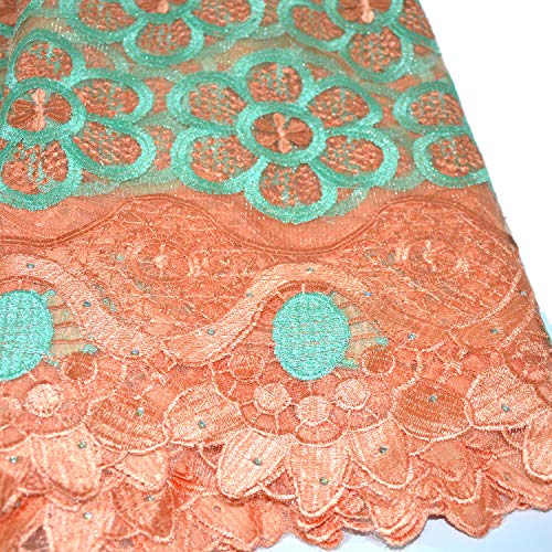 de12fe54db6a9 KENLACE 5 Yards/Piece Tulle Lace French African Lace Fabric Embroidered  Nigerian net Lace with Guipure Lace Fabric for Woman Dresses/Clothes (Peach  & ...