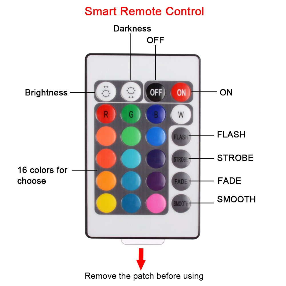 Venhoo Multi Color Changing Led String Lights Dimmable 16ft 50 3 Light Wire Diagram Rgb Fairy With Remote Control 16 Individual Colors Battery Powered