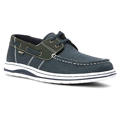Sebago Men's Hartland 2-Eye Boat Shoe,Navy Canvas/Nubuck,US 7