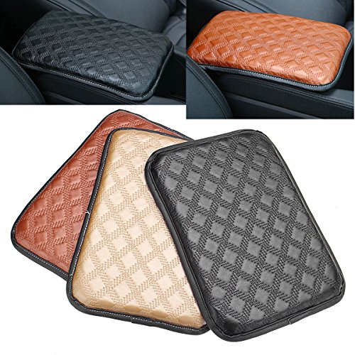 (HitommyUniversal Car Auto Armrest Pad Cover Center Console Box Leather Cushion 3-Colors - Black)