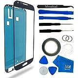Samsung Galaxy S4 i9500 i9505 Display Touchscreen Frontglas Schwarz mit Werkzeug-Set zum Wechsel des Frontglases Inkl Pre Cut Sticker/ Pinzette / Rolle 2mm Klebeband / Saugnapf / Draht / Mikrofasertuch MMOBIEL