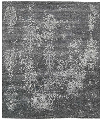 Nourison Silk Shadows (SHA14) Graphite Rectangle Area Rug, 7-Feet 9-Inches by 9-Feet 9-Inches (7'9
