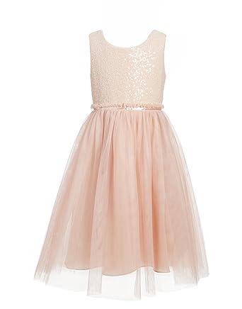 Amazon.com: princhar Blush Sequin Tulle Flower Girl Dress Wedding ...