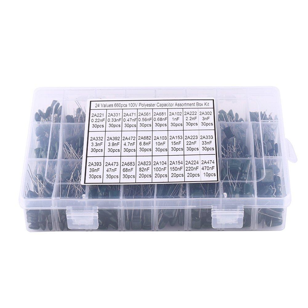 660Pz 24 Valori Condensatori di Pellicola in Poliestere Kit di Assortimento da 100V 0, 22nF a 470nF 24 con Scatola di Plastica Walfront