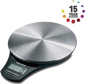 Balance de Cuisine numérique en acier inoxydable Salter - Balance de cuisson électronique pour la maison, pesez les aliments avec précision jusqu'à 5 kg, liquides en ml et en fl. Oz. Garanti 15 ans
