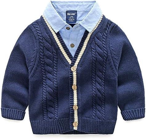 PUJIANGxian suéter de Manga Larga con Bolsillos para Camisa para niños, Fibra sintética, Azul Marino, 130: Amazon.es: Hogar