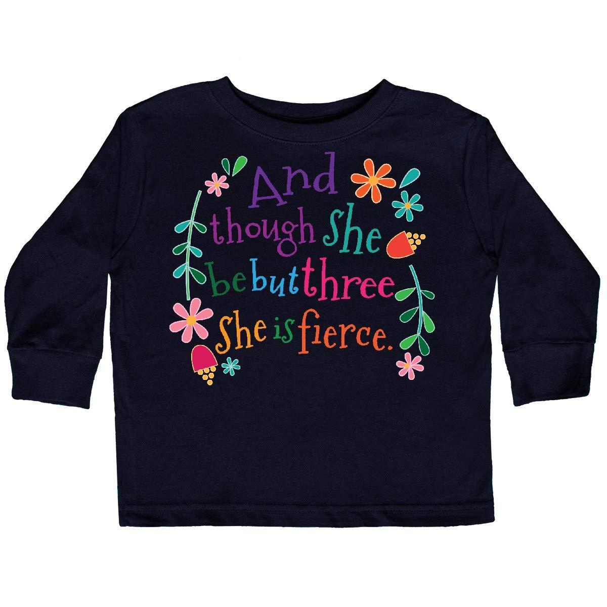 inktastic 3rd Birthday She is Fierce Girls 3 Year Toddler Long Sleeve T-Shirt