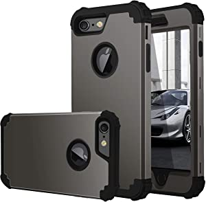 Fingic iPhone 6 / 6S Case 3 in 1 Heavy Duty Dual Layer Protection Hybrid Hard PC & Soft Silicone Rugged Bumper Anti Slip Full-Body Shockproof Protective Case for Apple iPhone 6S/6 4.7 inch, Gun Metal