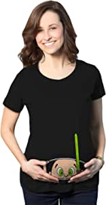 Crazy Dog T-Shirts Maternity Peeking Jedi Baby Movie Funny Pregnancy Shower Gift T Shirt (Black) - XL