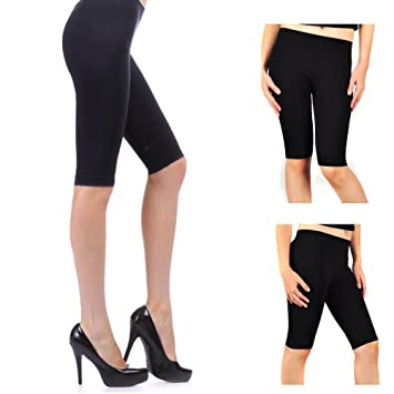 Seamless Solid Black Shorts Tight Knee Length Spandex