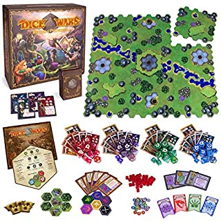 Wiz Dice Dice Wars: Heroes of Polyhedra Tabletop Fantasy Strategy Game, 2-4 Players - Giant Custom Dice & Infinite Replayability - Tactical Wargame with Modular Hex Grid Tiles & Unique Polyhedrals