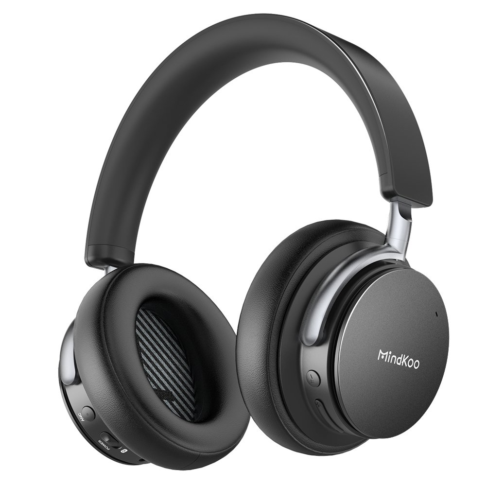 Active Noise Cancelling Wireless Bluetooth Headphones [Newest], MindKoo Over-head Bluetooth Headset with Comfortable Soft Earpads, Hi-Fi Powerful Stereo Bass Headsets with Built-in Mic, 25 Hours Playing Time for Cell Phones/ Tablet/ TV/ PC - Black MK-BH02#