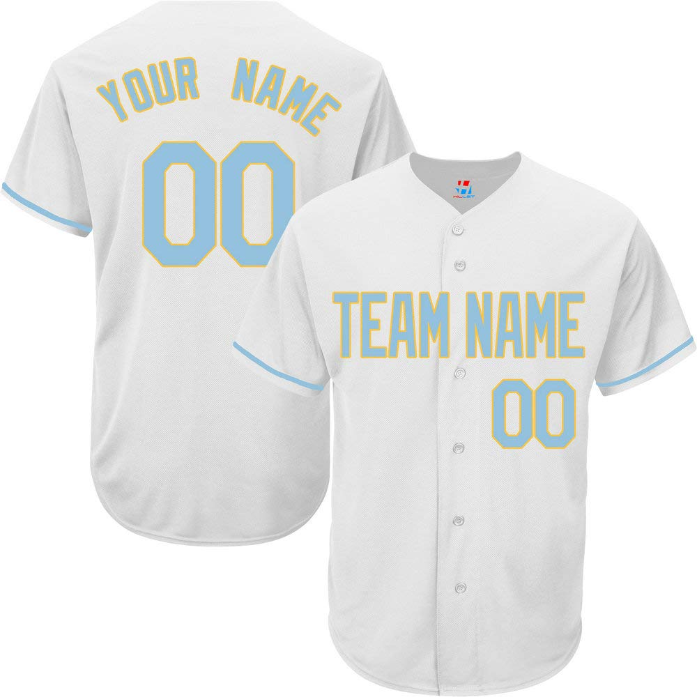 Pullonsy White Custom Baseball Jersey for Men Big and Tall Stitched Name,Light Blue-Yellow Size 6XL by Pullonsy