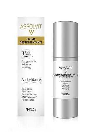 ASPOLVIT - Crema despigmentante y antioxidante facial con vitaminas, aloe vera y ácido cítrico. Elimina las manchas de la cara - 30 ml: Amazon.es: Belleza