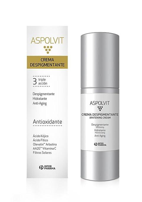 ASPOLVIT – Crema despigmentante y antioxidante facial con vitaminas, aloe vera y ácido cítrico.