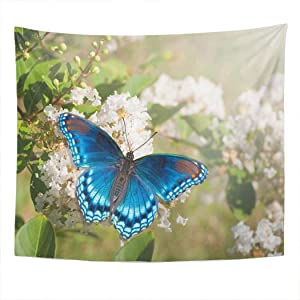 Llsty Tapestry Red Spotted Purple Admiral Butterfly Feeding White Crape Myrtle 60x80 Inches Polyester Suitable for Dormitory Living Room Bedroom Home Wall