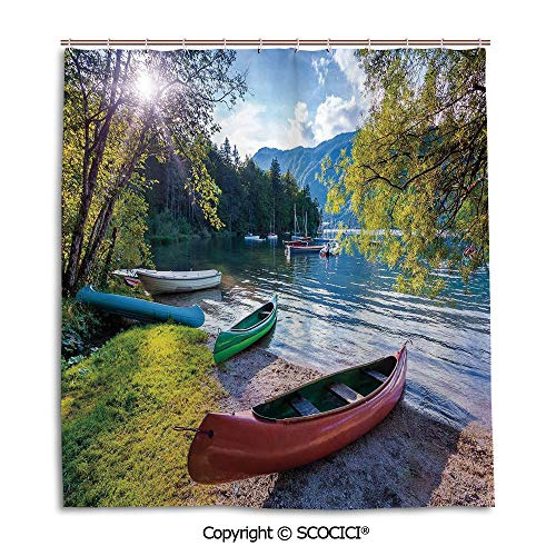 (Bath curtain suit bathroom waterproof curtain Shower Curtain,66X72in,Landscape,Bohinj Lake with Boats Canoes Triglav National Park Julian Alps Slovenia Print,Multicolor,Used for bathing privacy)