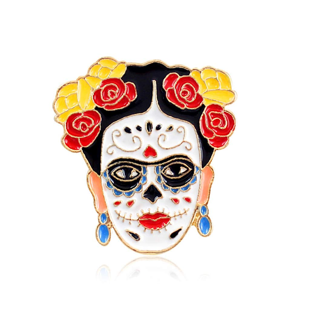 Mimgo Artist Frida Kahlo Skull Heart Pins Badges Brooches Halloween Fashion Jewelry