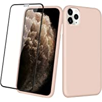 Aemotoy Soft Rubber Silicone Full Body Wrapped 2 in 1 Case with Tempered Glass for 2019 Release iPhone 11 Pro (Sand Pink)