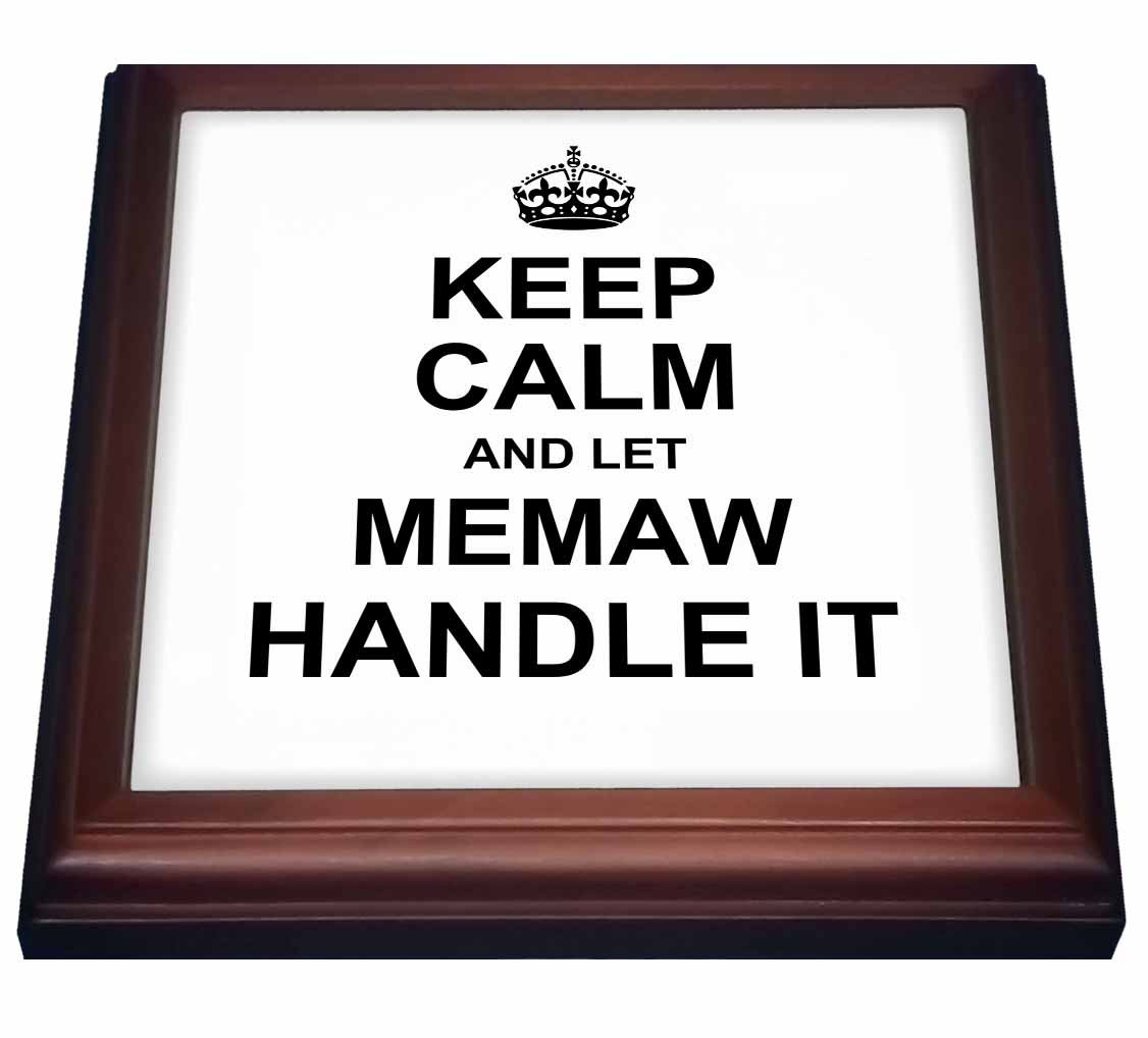 3dRose trv_233084_1 Keep Calm and Let Memaw Handle It Fun Funny Grandma Grandmother Gift Trivet with Tile, 8'' x 8''