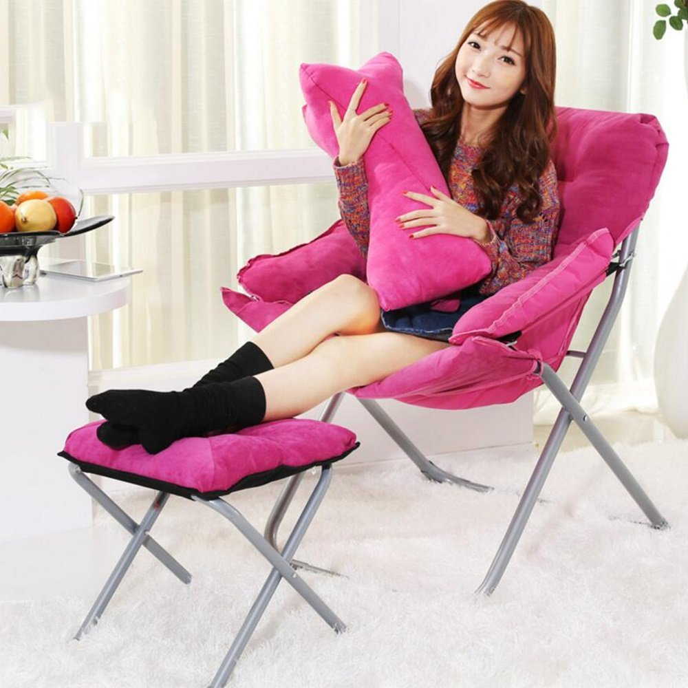 KTYXDE クリエイティブな怠惰なソファの椅子カジュアルな折り畳み式の寮のコンピュータの椅子ホームバルコニーのリクライニング 折りたたみ椅子 (色 : Pink)  Pink B07KY7L36V