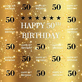 AOFOTO 6x6ft Happy 50th Birthday Background 50 Years Old Party Decoration Photography Backdrop Abstract Shiny Stars