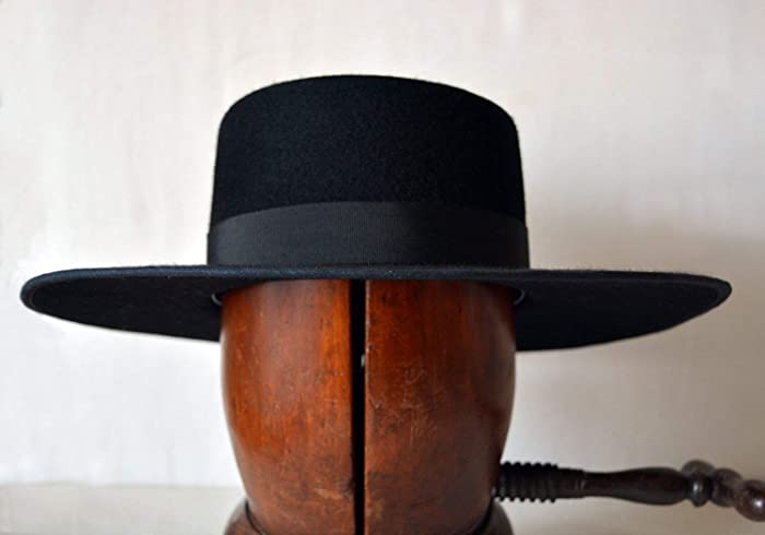 Amazon.com  The Black Bolero - Wool Felt Flat Crown Bolero Hat - Extra Wide  Brim - Men Women  Handmade be23b1d68e9f
