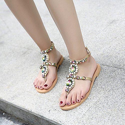 De Correa Tangas Sandalias Slingback Chanclas Bohemia Beach Zapatos T Peep Planos Mujeres Sandalias De Romanas Las Toe Summer En Brown Rhinestone WqW6HXZE