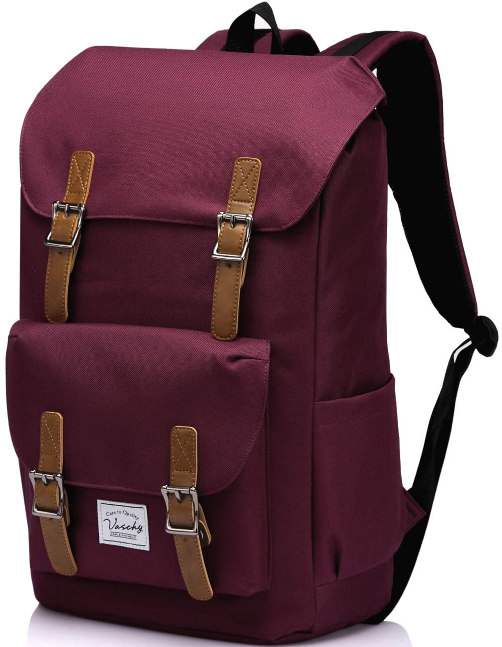 Vintage School Backpack for Women,Vaschy Water Resistant Drawstring Laptop Backpack for Travel with 15.6 inch Laptop Burgundy by VASCHY