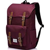 School Backpack,Vaschy Water Resistant Drawstring Laptop Backpack Women for 15.6 inch Laptop Burgundy