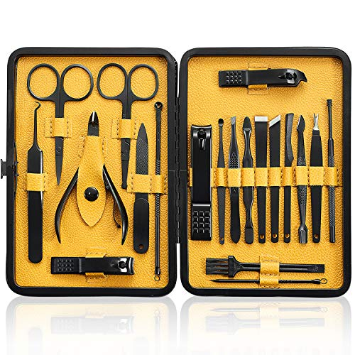 (Manicure Set 20Pcs - Professional Stainless Steel Nail Clippers Scissors Pedicure Tools Kit - Portable Travel Grooming Kit for Men and Women with Black/Yellow Leather Case)