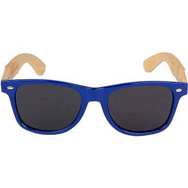 6dd0b93c322 Amazon.com  WOODIES Bamboo Wood Sunglasses with Blue Plastic Frames   Clothing