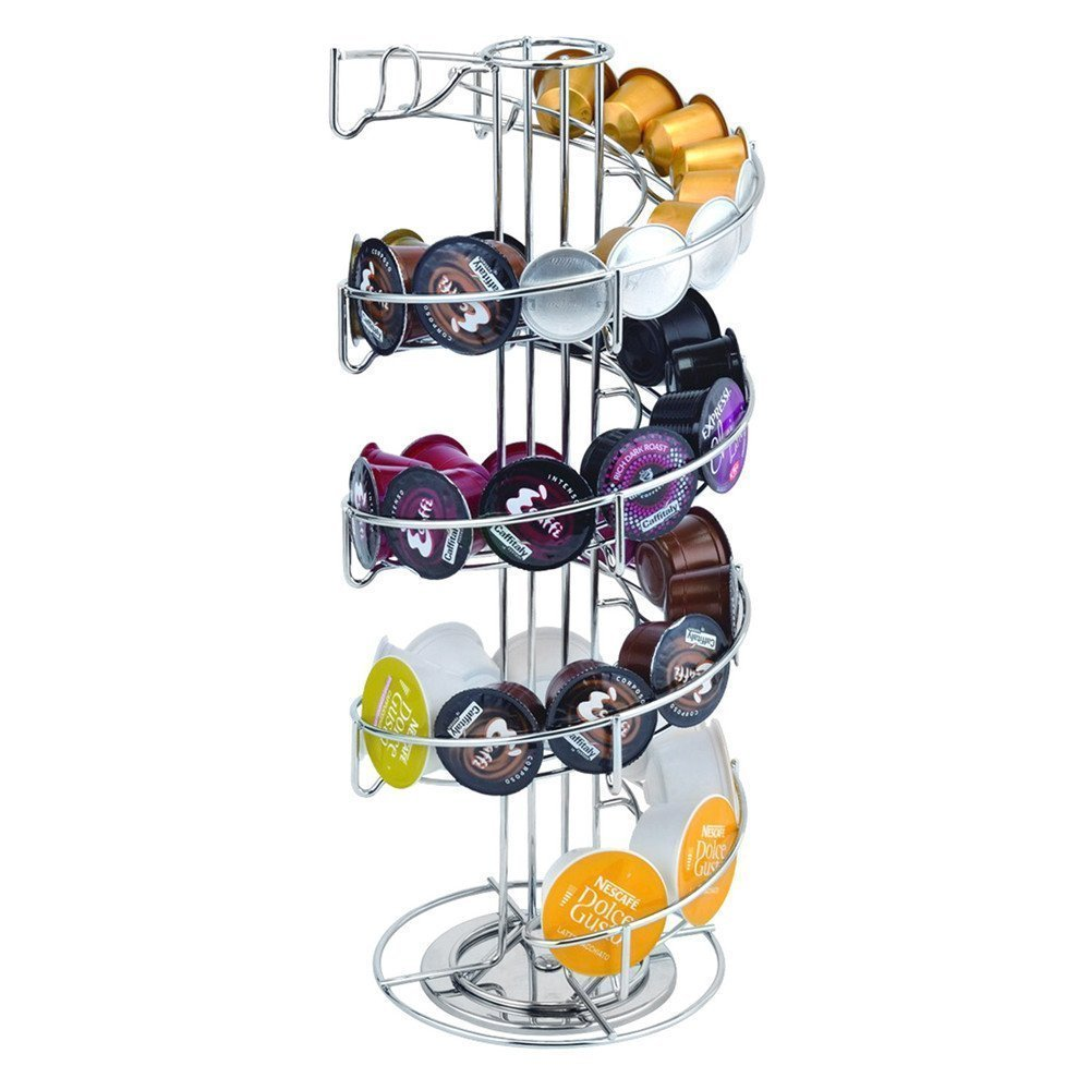 Anles 360 Degree Rotating Coffee Pod Holder Stand - Coffee Storage Carousel for K-Cup Pods - 30 Pod Capacity (Silver)